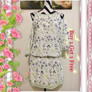 Max Studio London Floral Print Cold Shoulder Dress